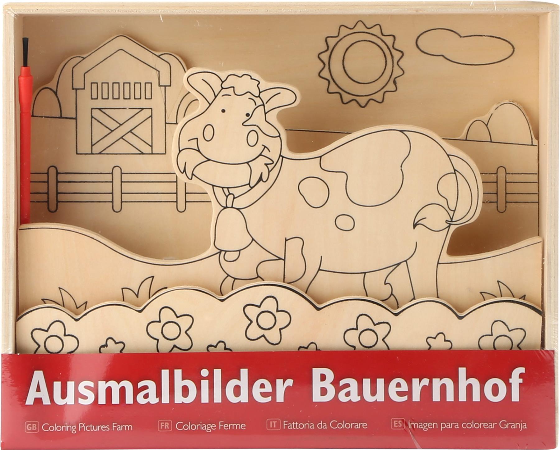 """Ausmalbilder aus Holz """"Bauernhof"""""""